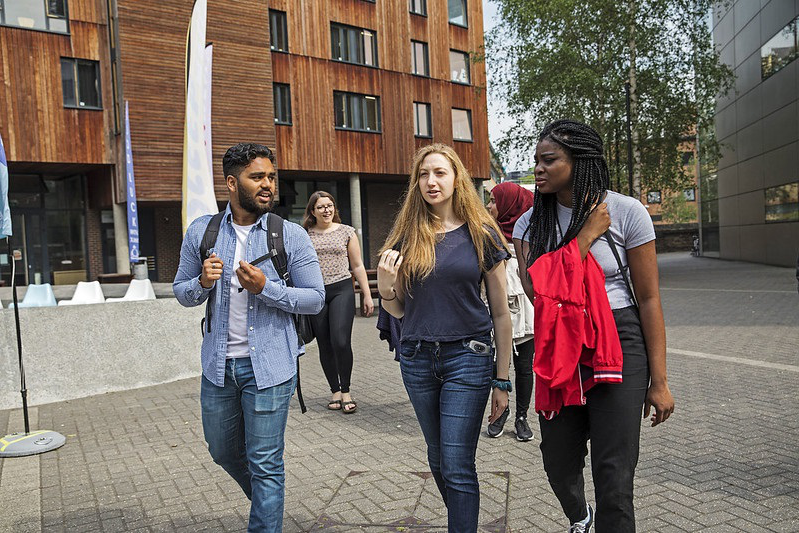 Students walking by accommodation