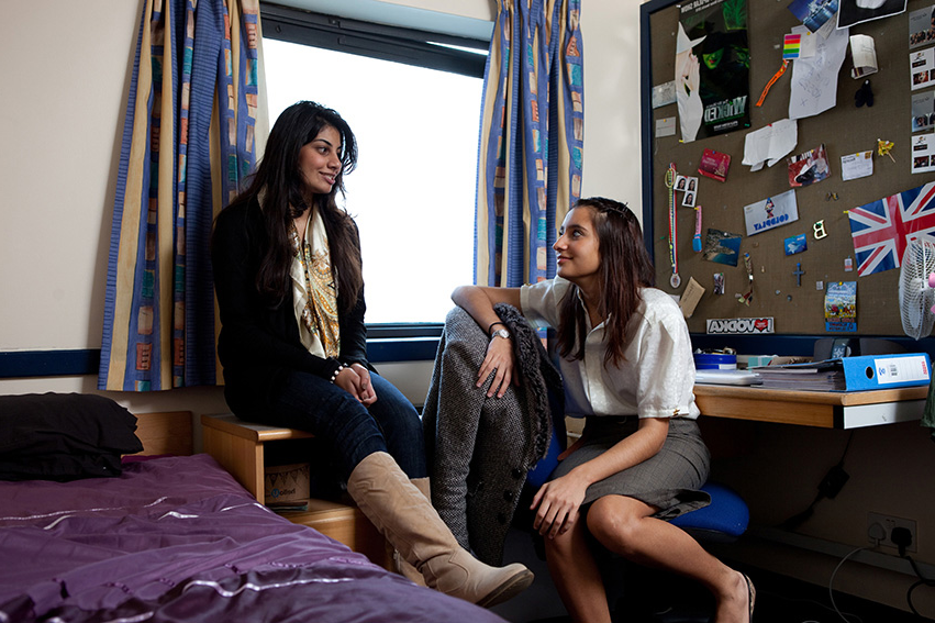 Students sitting in accommodation