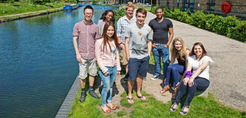 A group of Queen Mary international students on the Mile End Campus